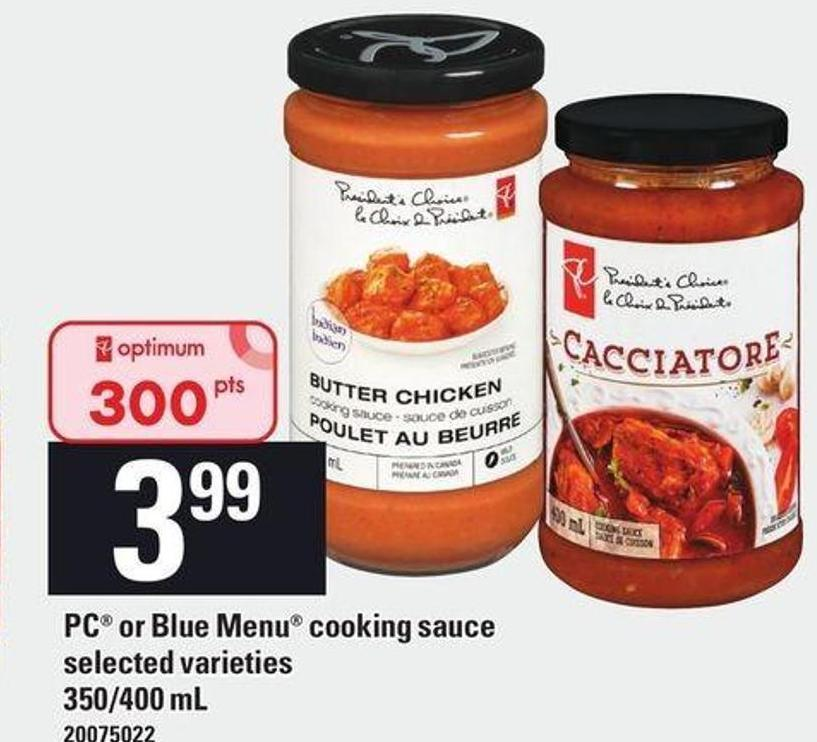PC Or Blue Menu Cooking Sauce - 350/400 mL