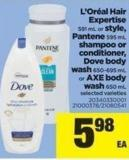 L'oréal Hair Expertise - 591 Ml Or Style - Pantene - 595 Ml Shampoo Or Conditioner - Dove Body Wash - 650-695 Ml or Axe Body Wash - 650 Ml