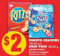 Christie Crackers - 100-454 g or Snak Paks - 180-225 g