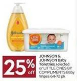 Johnson & Johnson Baby Toiletries Selected or Little Ones By Compliments Baby Wipes 64-72 Pk