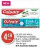 Colgate 360˚ Manual Toothbrush (1's) - Enamel Health (125ml) or Essentials (98ml) Toothpaste