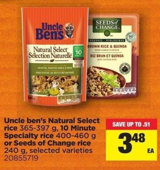 Uncle Ben's Natural Select Ice - 365-397 G - 10 Minute Specialty Rice - 400-460 G Or Seeds Of Change Rice - 240 G