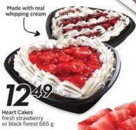 Heart Cakes Fresh Strawberry or Black Forest 665 g Made With Real Whipping Cream