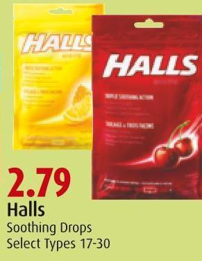 Halls Soothing Drops Select Types 17-30