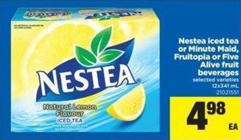 Nestea Iced Tea Or Minute Maid - Fruitopia Or Five Alive Fruit Beverages - 12x341 mL