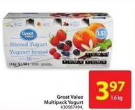 Great Value Multipack Yogurt 1.6 Kg