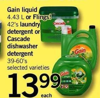 Gain Liquid 4.43 L Or Flings! 42's Laundry Detergent Or Cascade Dishwasher Detergent 39-60's