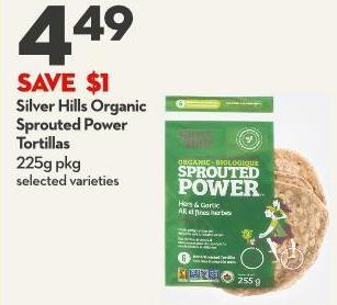 Silver Hills Organic  Sprouted Power  Tortillas 225g Pkg