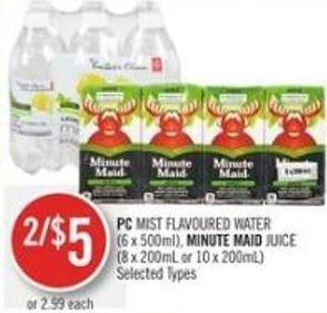 PC Mist Flavoured Water (6 X 500ml) - Minute Maid Juice (8 X 200ml or 10 X 200ml)