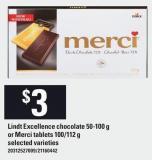Lindt Excellence Chocolate 50-100 G Or Merci Tablets 100/112 G