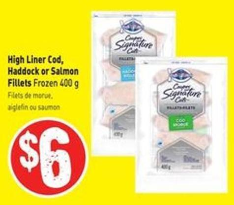 High Liner Cod - Haddock or Salmon Fillets Frozen 400 g