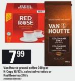Van Houtte Ground Coffee 340 G Or K-cups 10/12's - Or Red Rose Tea 216's