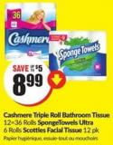 Cashmere Triple Roll Bathroom Tissue 12=36 Rolls Spongetowels Ultra 6 Rolls Scotties Facial Tissue 12 Pk