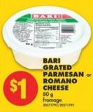 Bari Grated Parmesan or Romano Cheese 80 g