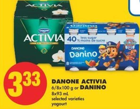 Danone Activia - 6/8x100 g or Danino - 8x93 mL