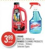 Drano Max Gel (900ml) or Windex Cleaning Products (765ml - 950ml)