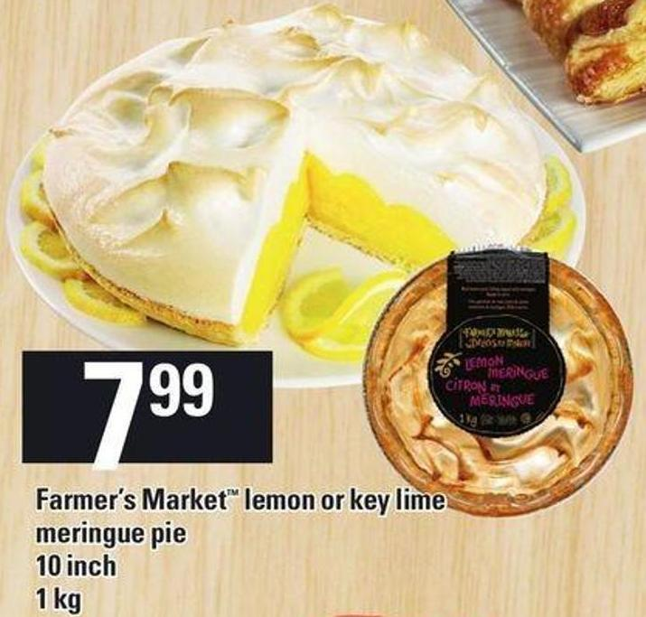Farmer's Market Lemon Or Key Lime Meringue Pie - 10 Inch