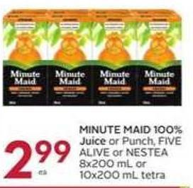 Minute Maid 100% Juice or Punch - Five Alive or Nestea 8x200 mL or 10x200 mL Tetra