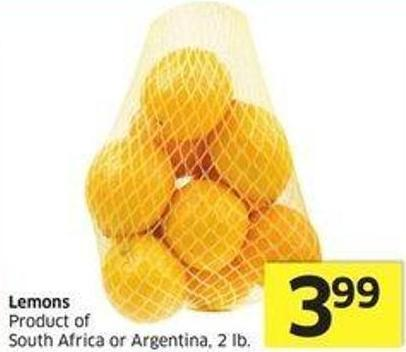 Lemons Product of South Africa or Argentina - 2 Lb.