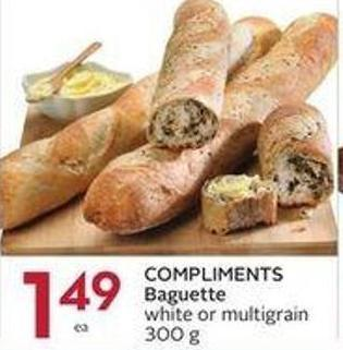 Compliments Baguette White or Multigrain 300 g