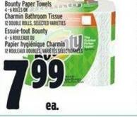 Bounty Paper Towels 4 - 6 Rolls Or Charmin Bathroom Tissue 12 Double Rolls