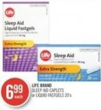 Life Brand Sleep Aid Caplets or Liquid Fastgels 20's