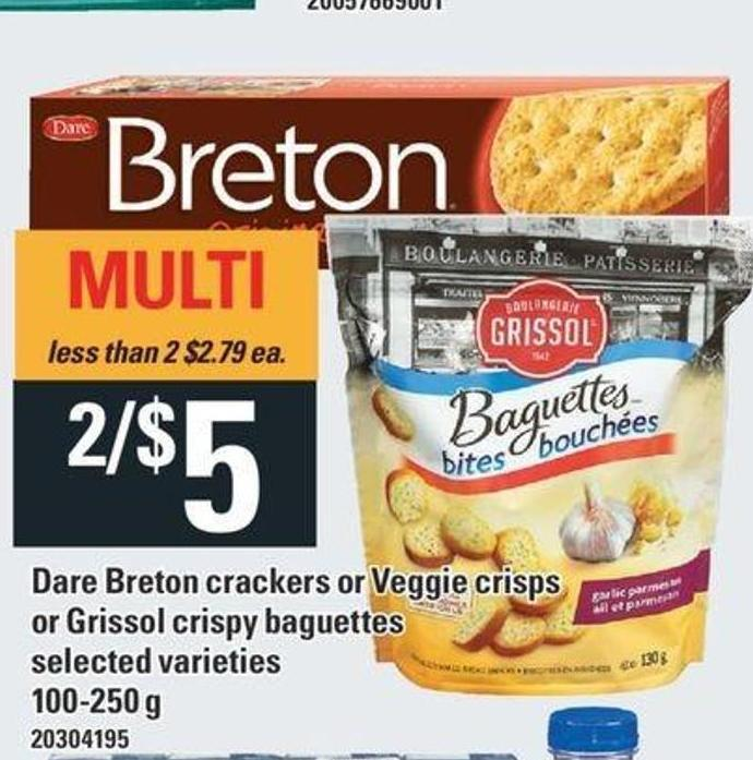 Dare Breton Crackers Or Veggie Crisps Or Grissol Crispy Baguettes - 100-250 g