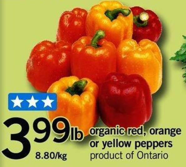 Organic Red - Orange Or Yellow Peppers