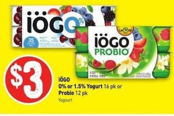 Iögo O% or 1.5% Yogurt 16 Pk or Probio 12 Pk