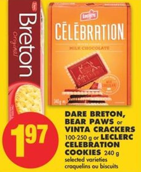 Dare Breton - Bear Paws or Vinta Crackers - 100-250 g or Leclerc Celebration Cookies - 240 g