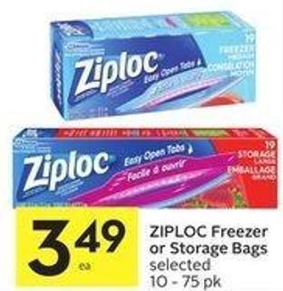 Ziploc Freezer or Storage Bags Selected 10 - 75 Pk
