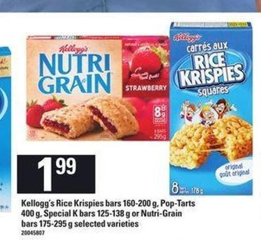 Kellogg's Rice Krispies Bars - 160-200 g - Pop-tarts - 400 g - Special K Bars - 125-138 g or Nutri-grain Bars - 175-295 g