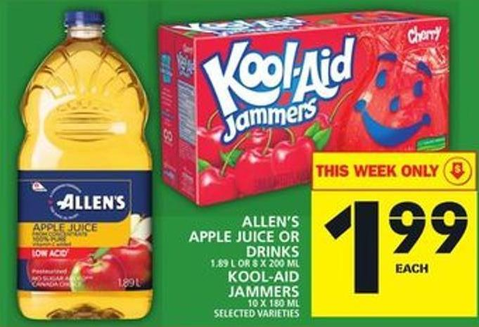 Allen's Apple Juice Or Drinks Or Kool-aid Jammers