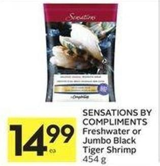 Sensations By Compliments Freshwater or Jumbo Black Tiger Shrimp 454 g