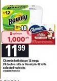 Charmin Bath Tissue 12 Mega/24 Double Rolls Or Bounty 6=12 Rolls