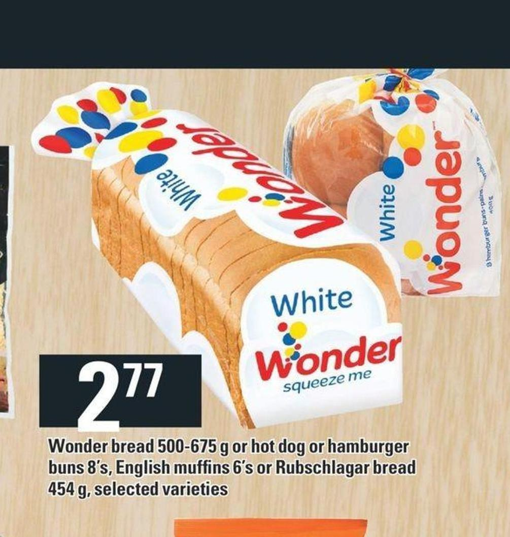 Wonder Bread 500-675 g Or Hot Dog Or Hamburger Buns 8's - English Muffins 6's Or Rubschlagar Bread 454 g