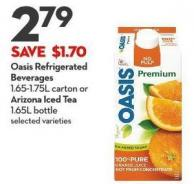 Oasis Refrigerated  Beverages 1.65-1.75l Carton or  Arizona Iced Tea 1.65l Bottle