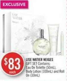 Lise Watier Neiges Gift Set Contains Eau De Toilette (50ml) - Body Lotion (100ml) and Roll On (10ml)