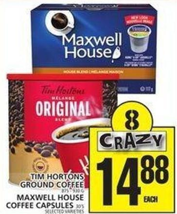 Tim Hortons Ground Coffee - 875-930 g