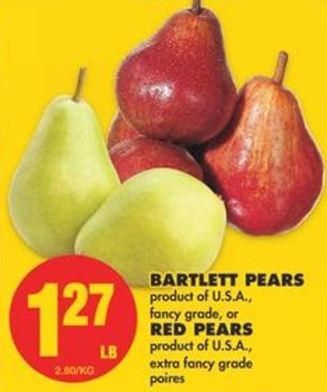Bartlett Pears or Red Pears