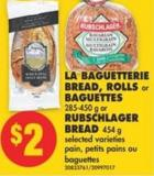 La Baguetterie Bread - Rolls or Baguettes - 285-450 g or Rubschlager Bread - 454 g