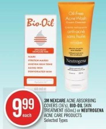 3m Nexcare Acne Absorbing Covers (36's) - Bio-oil Skin Treatment (60ml) or Neutrogena Acne Care Products