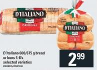 D'italiano 600/675 g Bread Or Buns 4-8's