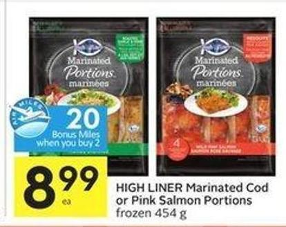 High Liner Marinated Cod or Pink Salmon Portions - 20 Air Miles