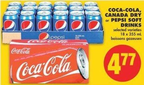 Coca-cola - Canada Dry Or Pepsi Soft Drinks - 18 X 355 Ml
