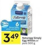 Naturegg Simply Egg Whites or Pure 500 g - 6 Air Miles Bonus Miles