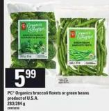 PC Organics Broccoli Florets Or Green Beans - 283/284 g