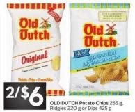 Old Dutch Potato Chips 255 Gridgies 220 g or Dips 425 g