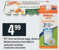 PC Free Run Brown Eggs - Dozen Or Neilson Lactose Free Milk 2 L