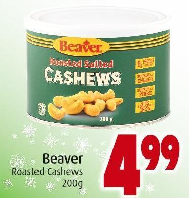 Beaver Roasted Cashews 200g